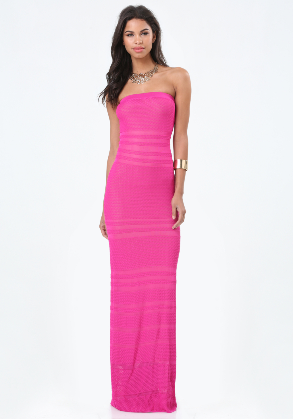Colorblock strapless maxi dress bebe