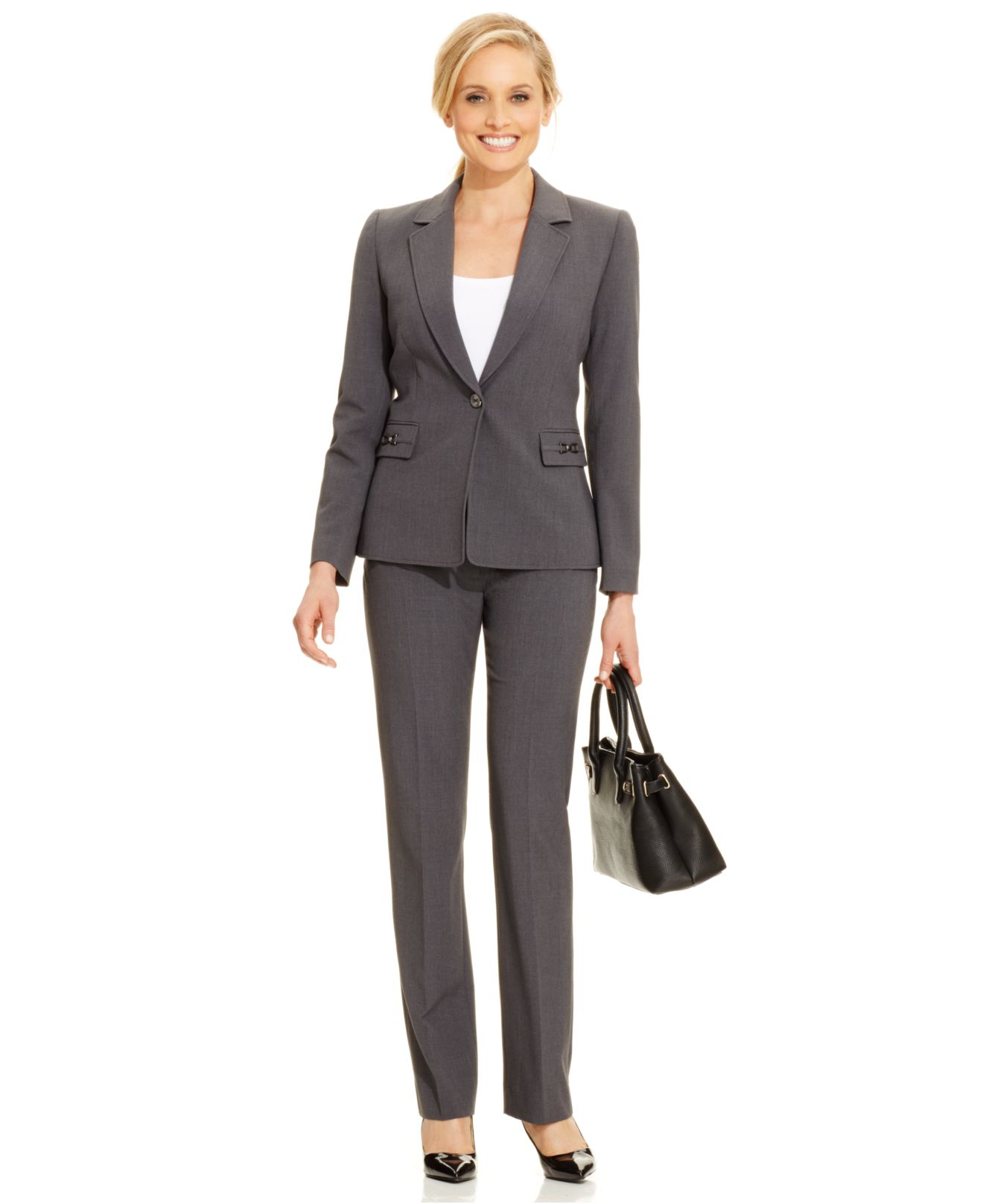 tahari one button hardware detail pantsuit in gray lyst gallery