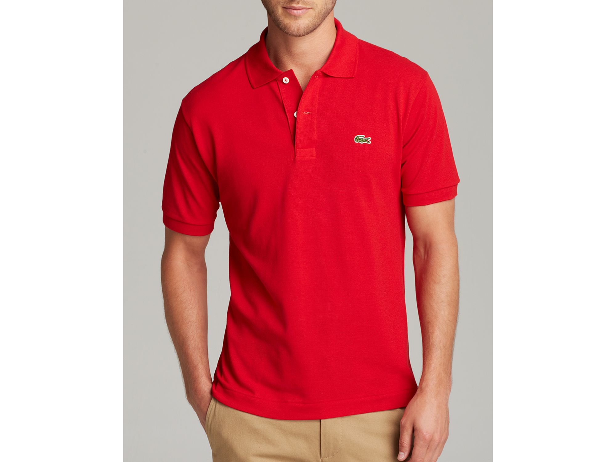 lacoste short sleeve piqu polo shirt classic fit in red for men. Black Bedroom Furniture Sets. Home Design Ideas