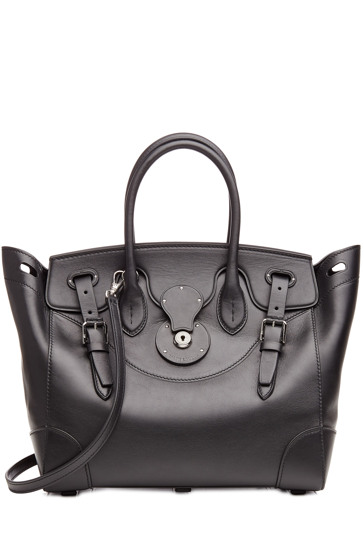 cf8fe0dbf4 Lyst - Ralph Lauren Collection Leather Soft Ricky Tote - Black in Black