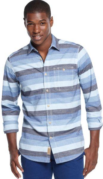 Sean john horizontal striped shirt in blue for men azure for Horizontal striped dress shirts men