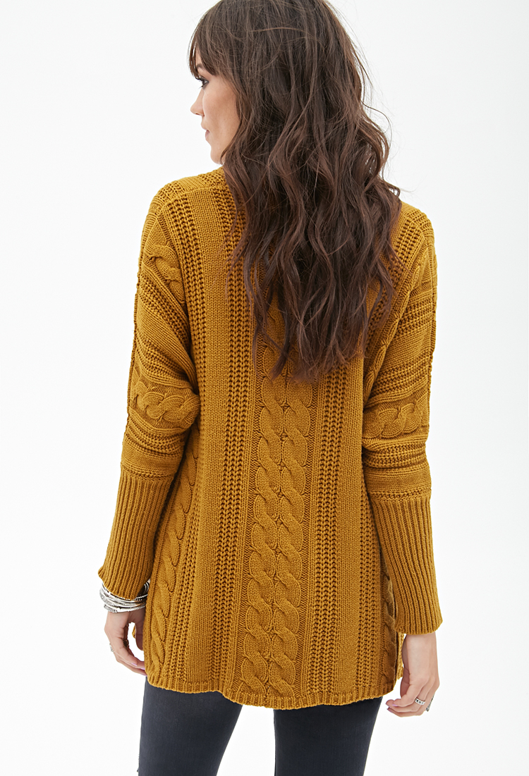 Forever 21 Cable Knit Batwing Cardigan in Yellow | Lyst