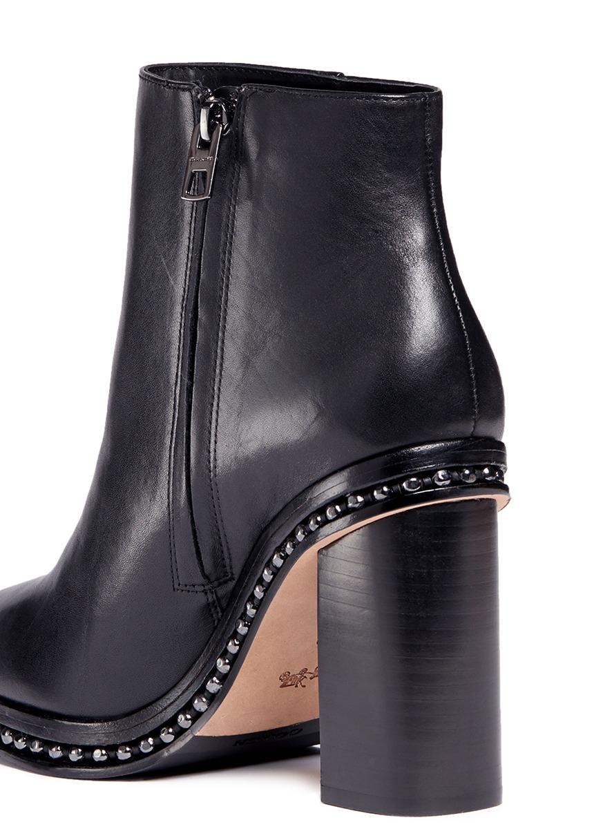 a694bdf0e820 ... best price lyst coach justina bead chain trim leather boots in black  47e85 3eb0c
