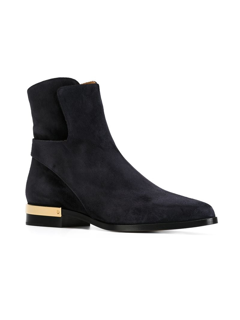 Lyst Chlo 233 Sonia Gold Detail Boots In Blue