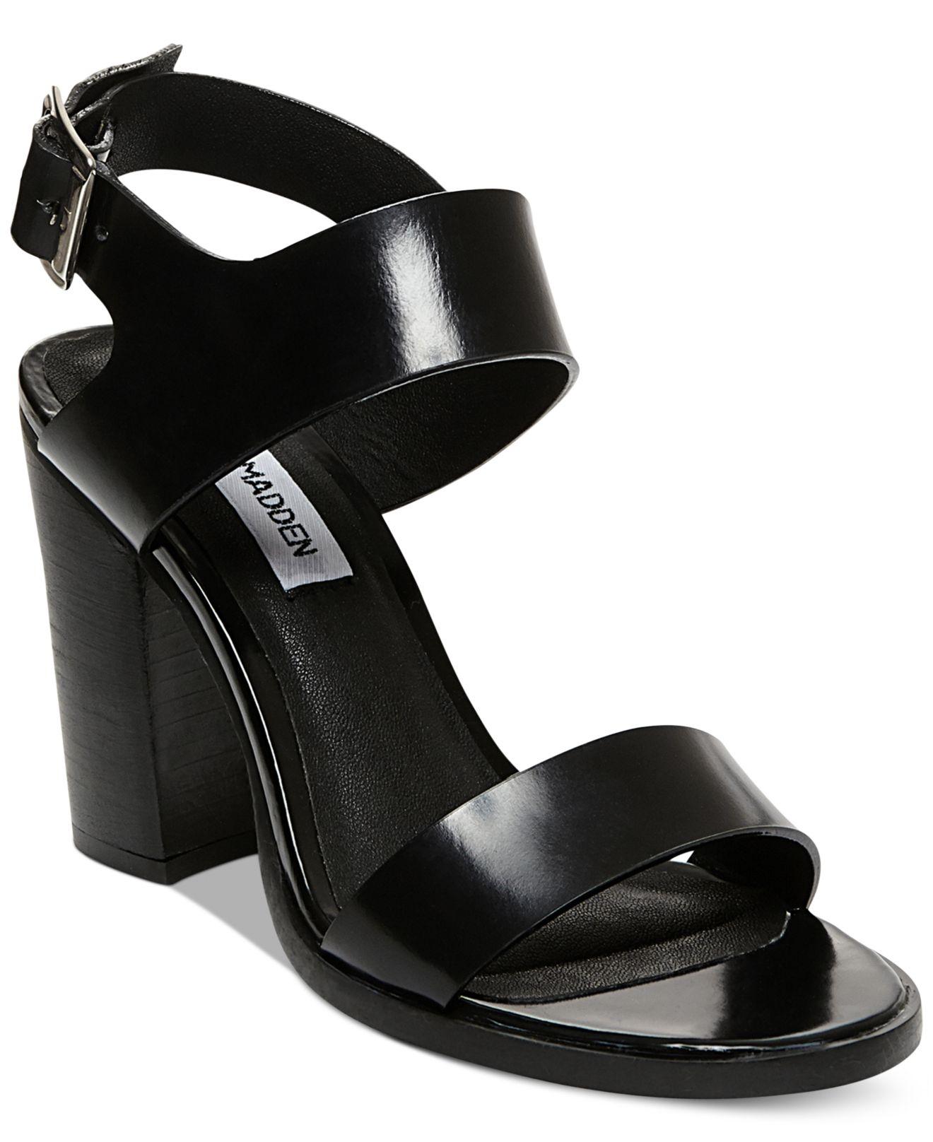 7b026b13cc7 Lyst Steve Madden Women S Blaair Block Heel Sandals In Black