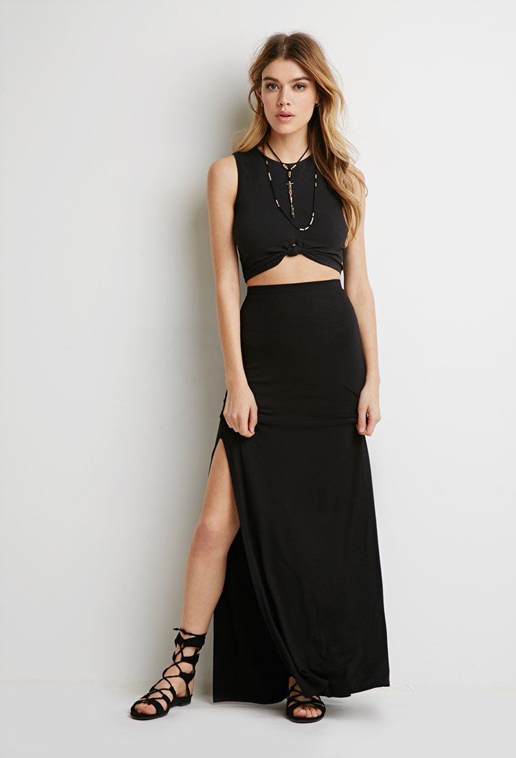 Forever 21 Side-slit Maxi Skirt in Black | Lyst