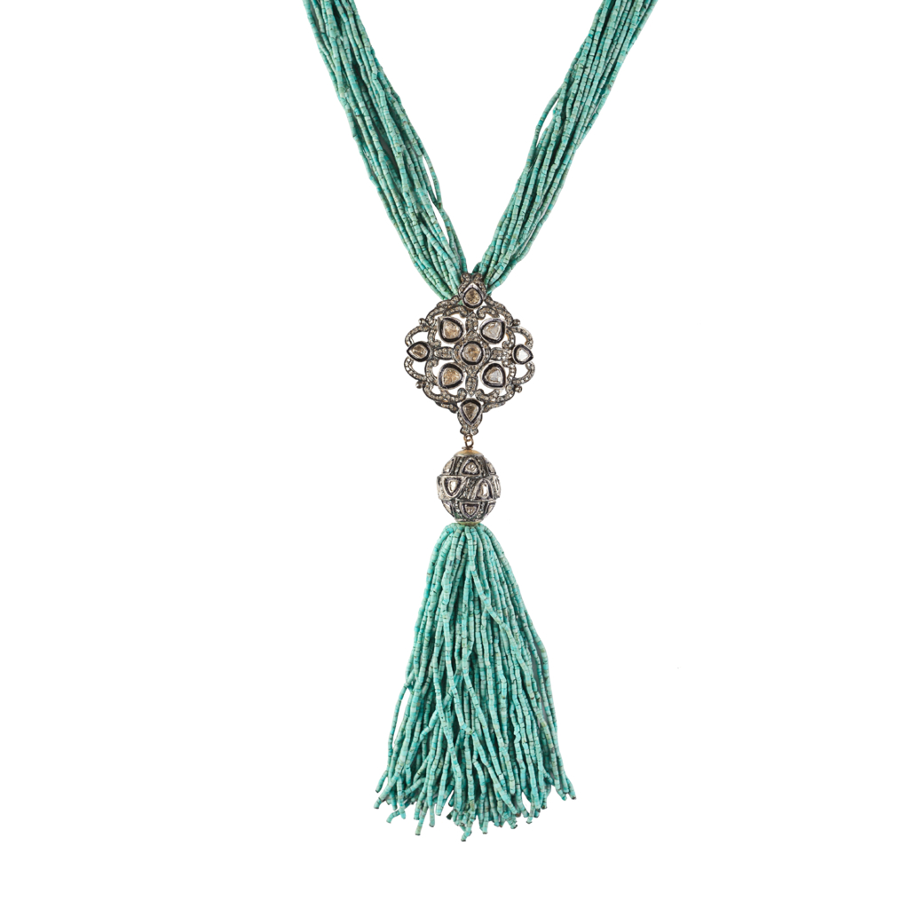 Shannon green Turquoise Diamond Medallion Necklace in Teal Lyst