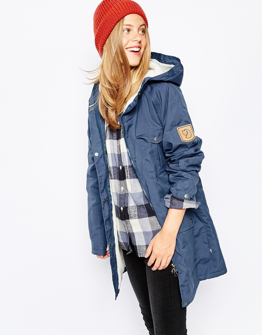 Fjallraven Hooded Parka Coat With Borg Lining in Blue | Lyst