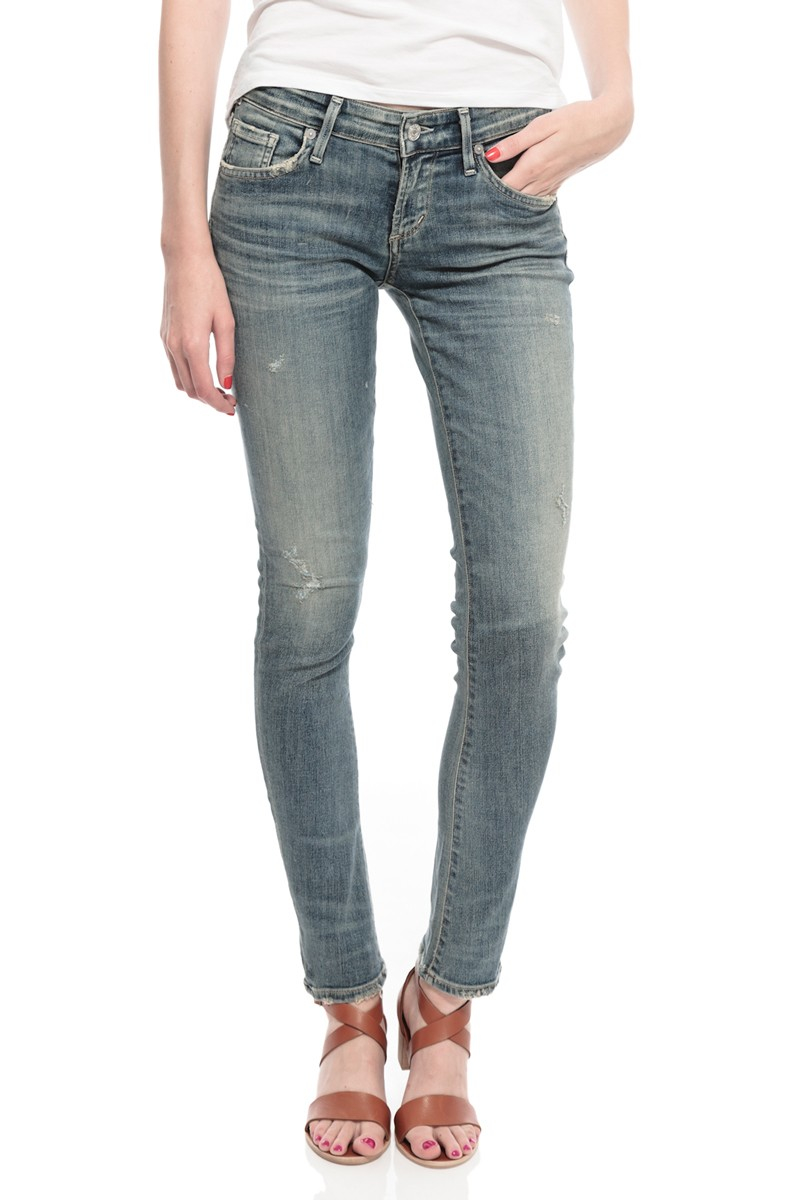 citizens of humanity racer low rise skinny jeans in blue. Black Bedroom Furniture Sets. Home Design Ideas