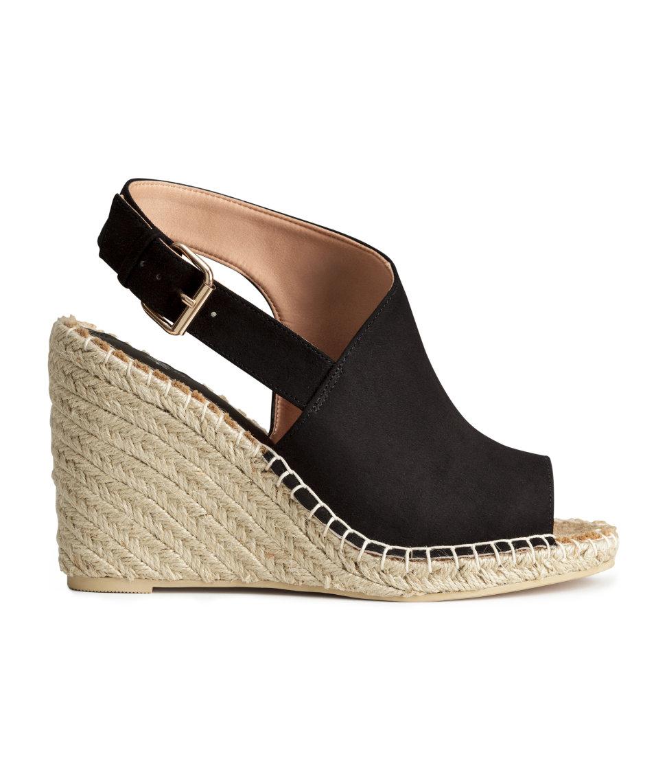 f90080bbfd H&M Wedge-heel Sandals in Black - Lyst