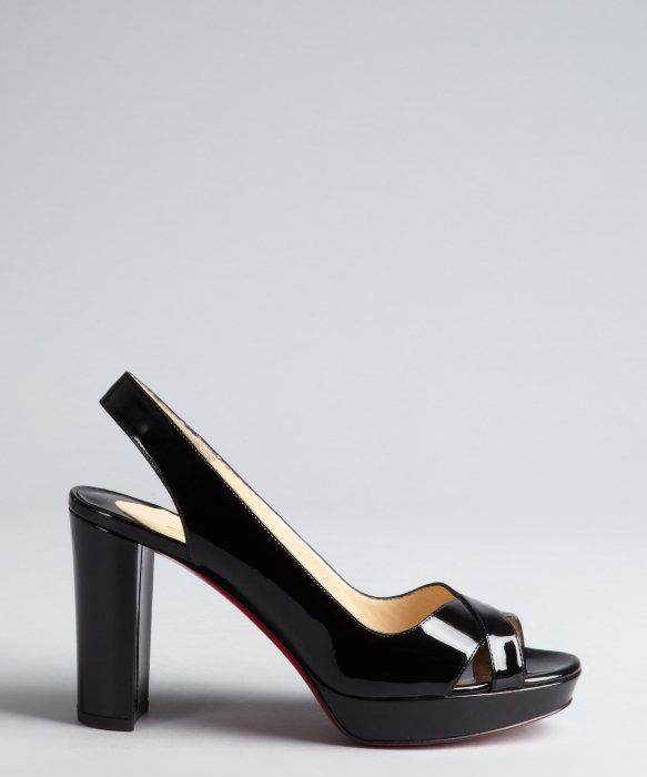 christian louboutin wedges Black patent leather round toes ...