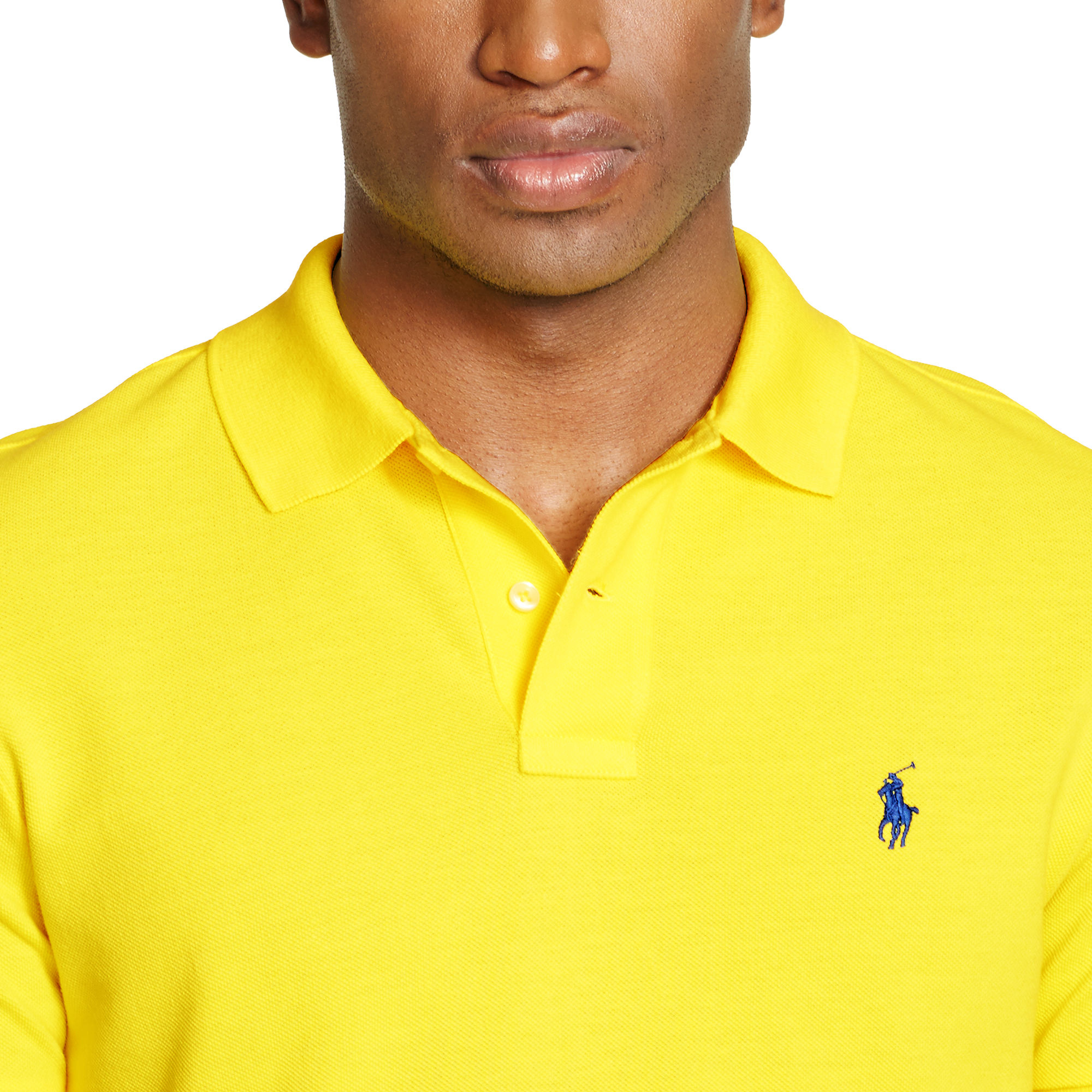 a6fe67969c733 Polo Ralph Lauren Custom-fit Mesh Polo Shirt in Yellow for Men - Lyst