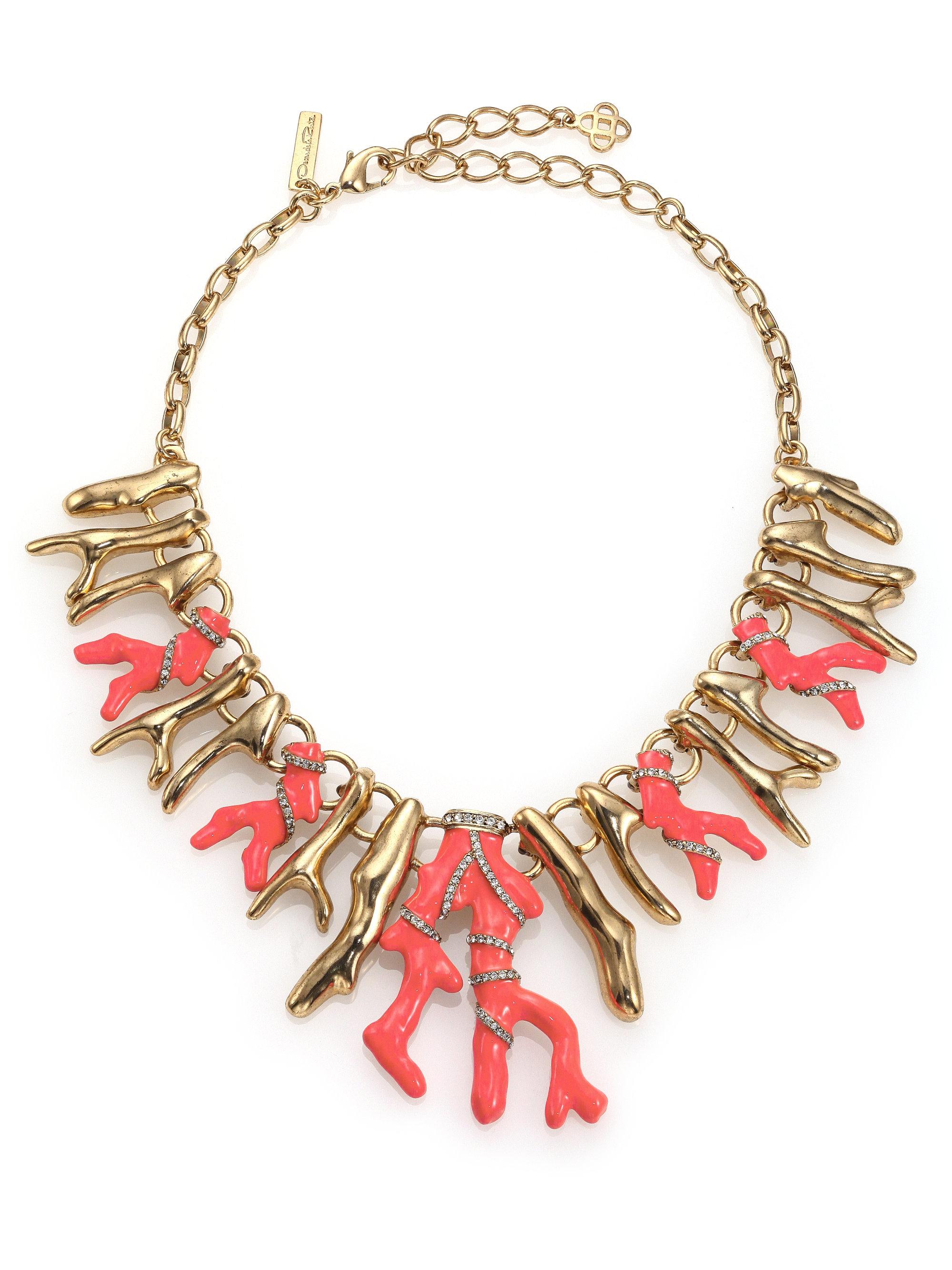 Oscar De La Renta Coral Branch Necklace IYSsM2lIQ
