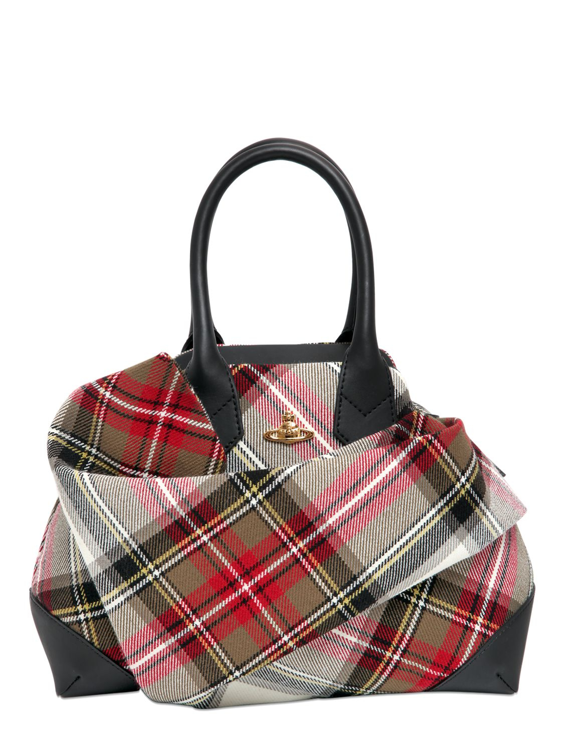 vivienne westwood plaid cotton canvas top handle bag in red multi black lyst. Black Bedroom Furniture Sets. Home Design Ideas