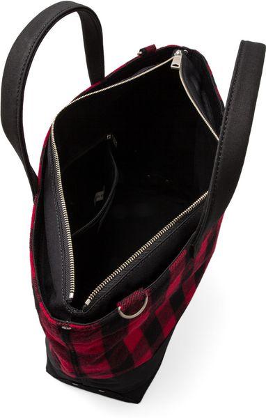 jack spade buffalo check zip coal bag in red in red for men  black  u0026 red  u0026 black