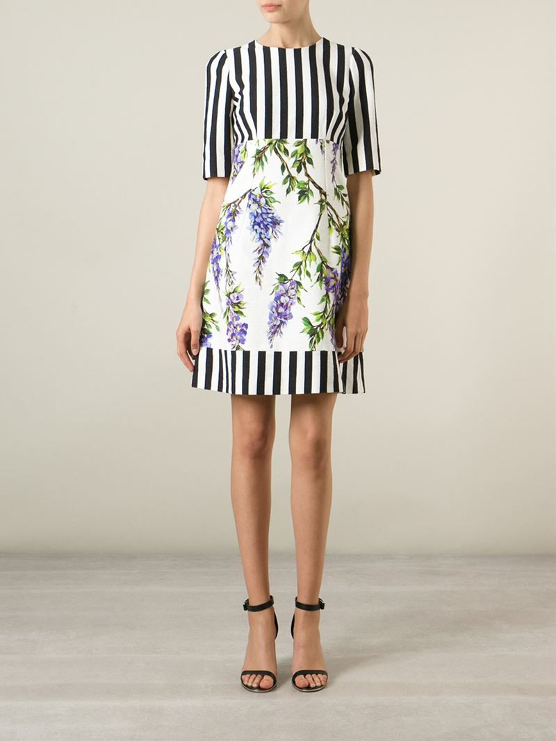 3c844df207238 Dolce & Gabbana Striped Wisteria Print Dress in White - Lyst