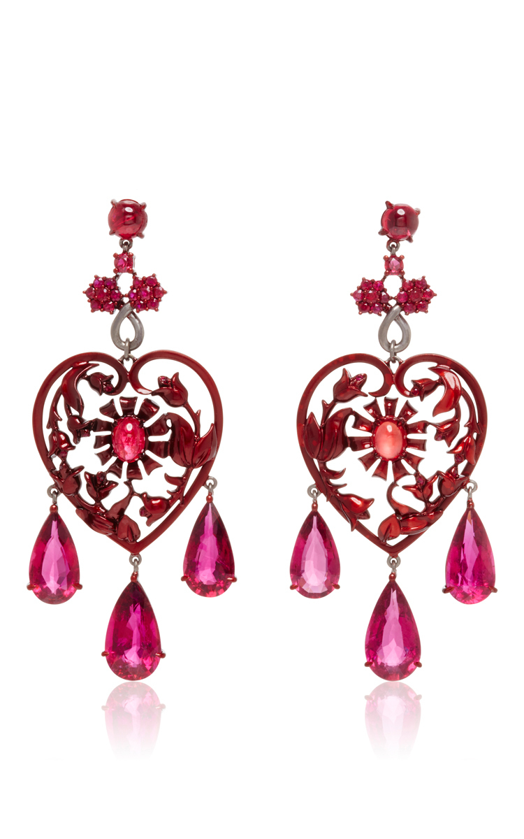 2356a46af74da0 Lydia Courteille Scarlet Empress Collection Red Sapphire Earrings in ...