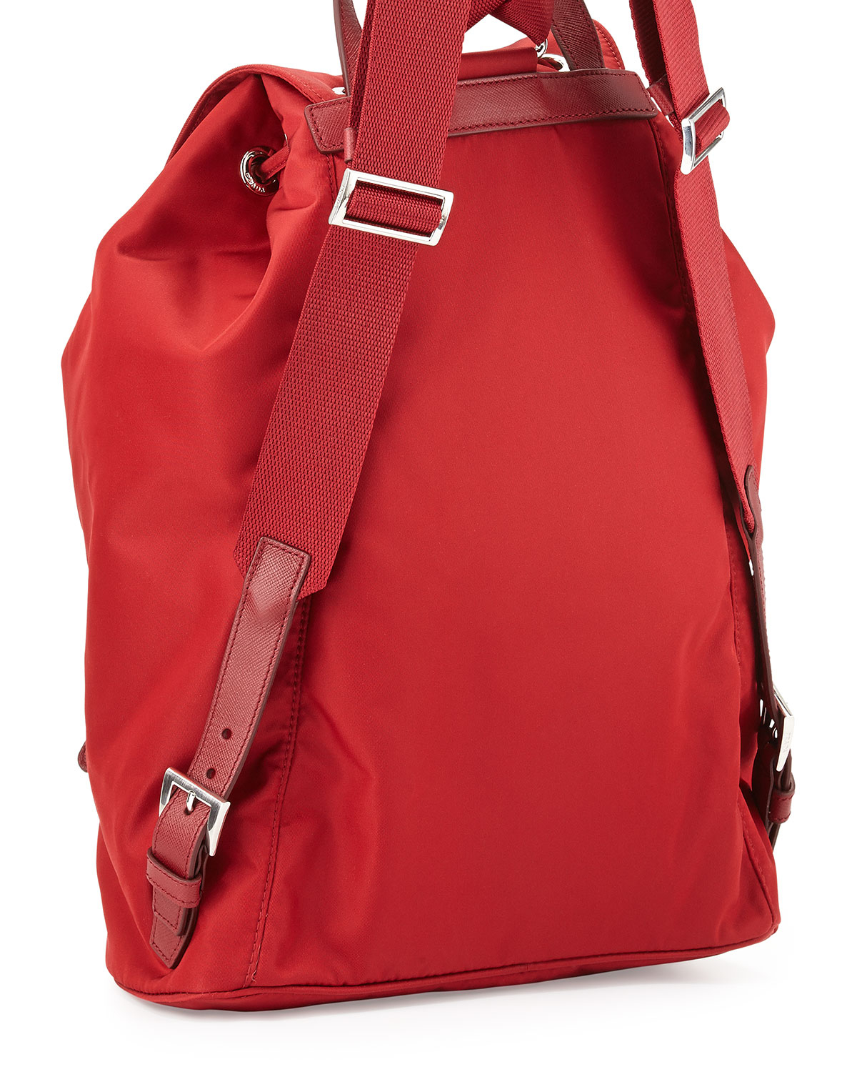 213c0dafe02d ... discount lyst prada vela large drawstring backpack in red a0d68 b3bfe