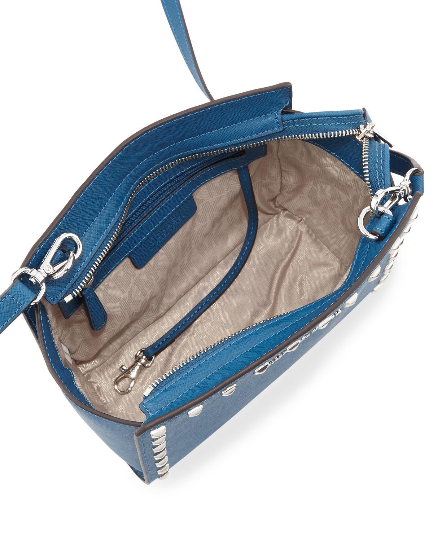 95bd54703d00 Lyst - MICHAEL Michael Kors Selma Stud Medium Messenger Bag in Gray