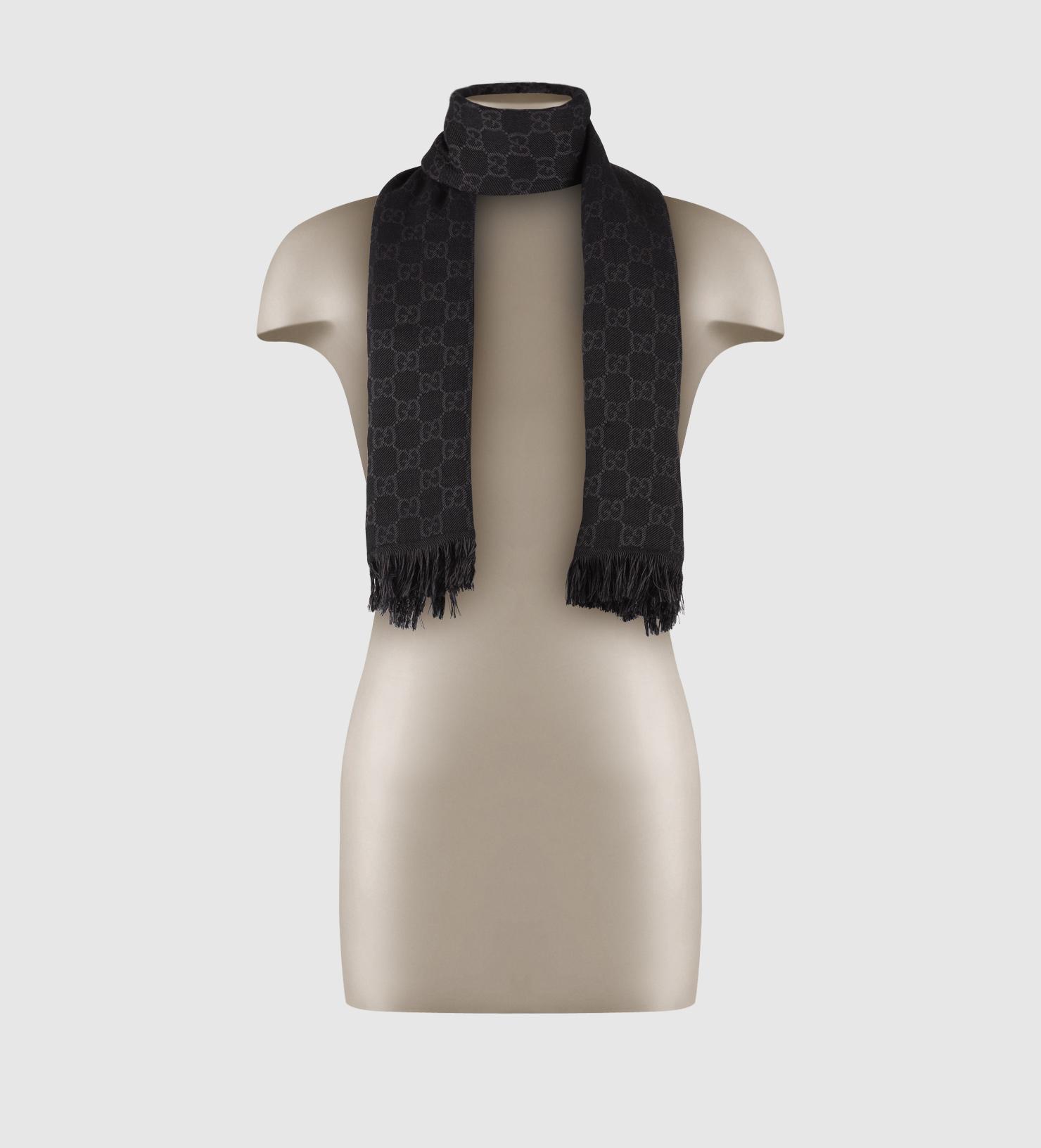 GG jacquard pattern knitted scarf - Black Gucci xkxyQ92d