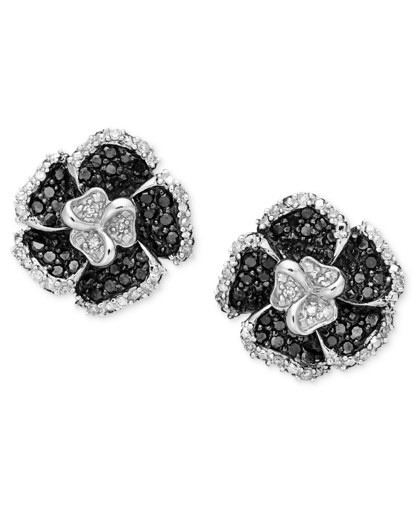 macy 39 s sterling silver earrings onyx and diamond accent. Black Bedroom Furniture Sets. Home Design Ideas