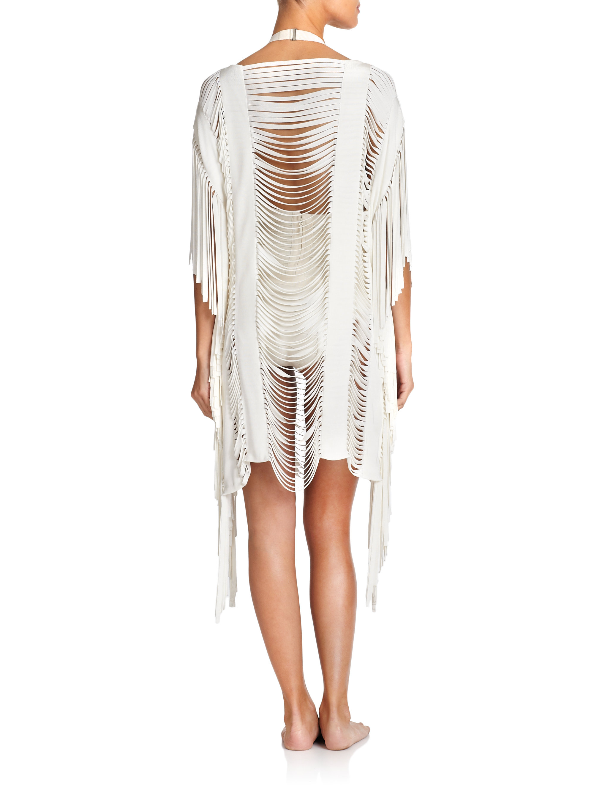 961a27913fb8d Hervé Léger Fringe Cover-Up in White - Lyst