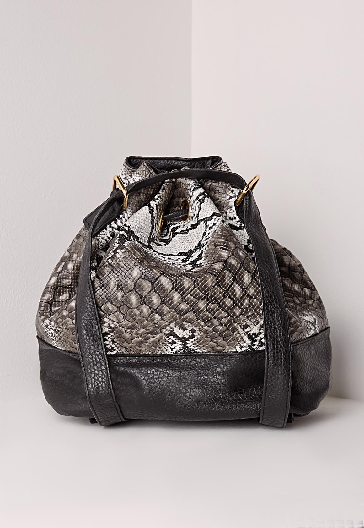 Lyst Missguided Snake Skin Drawstring Rucksack Grey In Gray