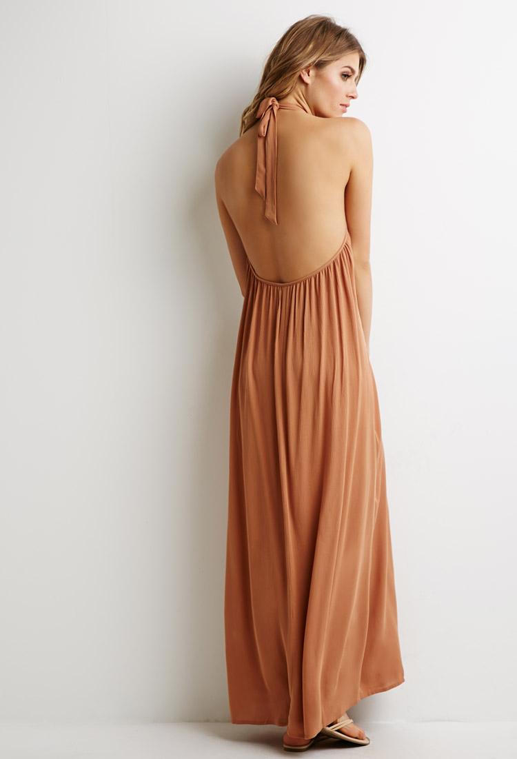Chiffon halter maxi dress forever 21