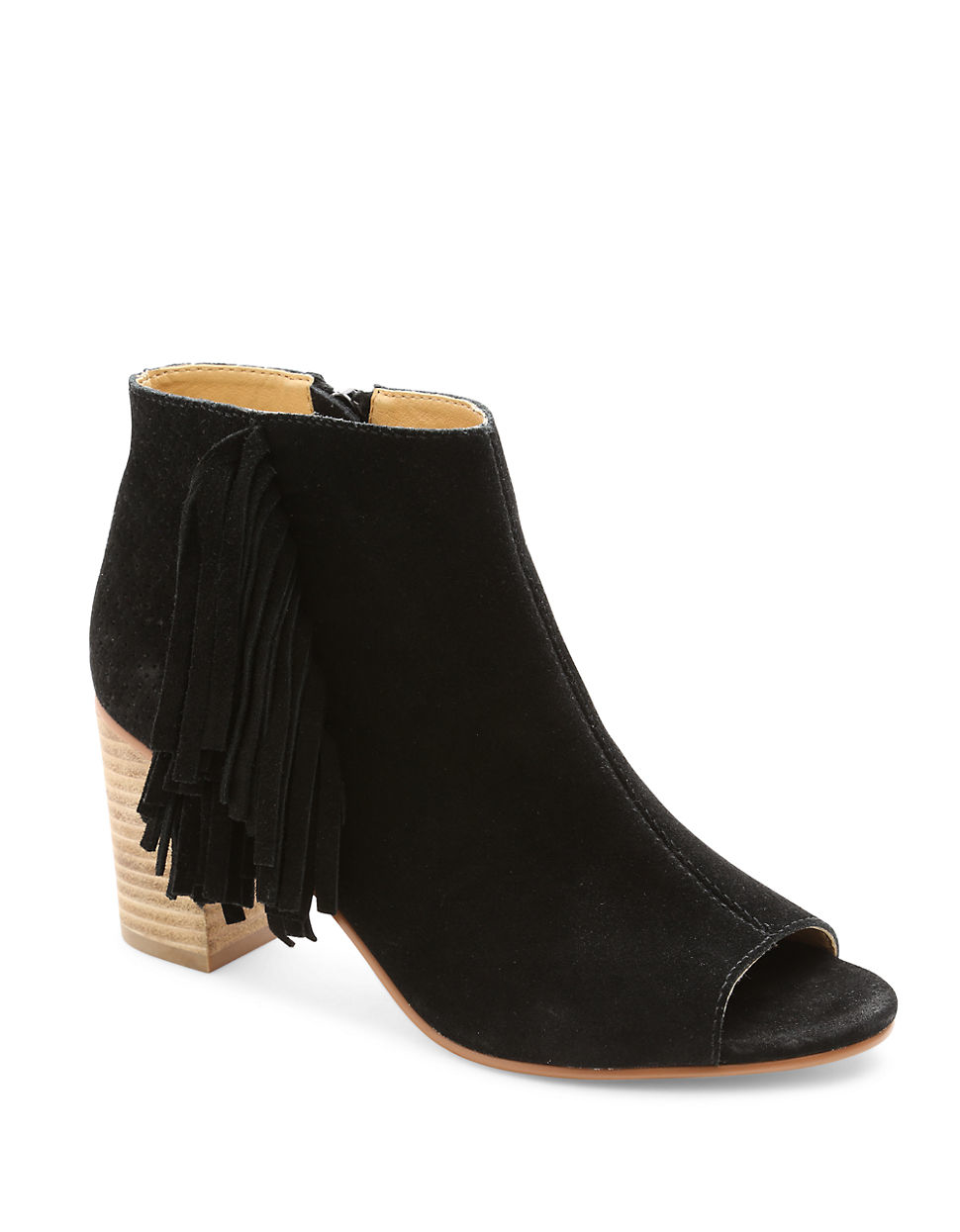 kensie erika suede open toe ankle boots in black lyst