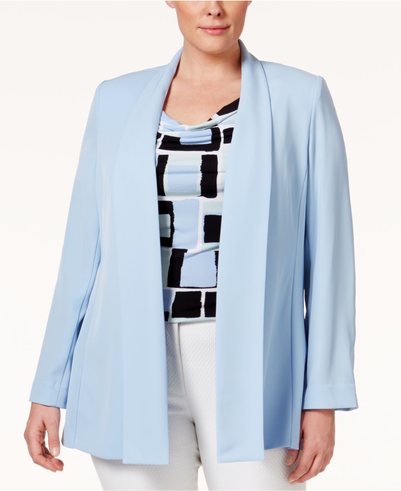 f29ed21059aea Lyst - Calvin Klein Plus Size Open-front Jacket in Blue