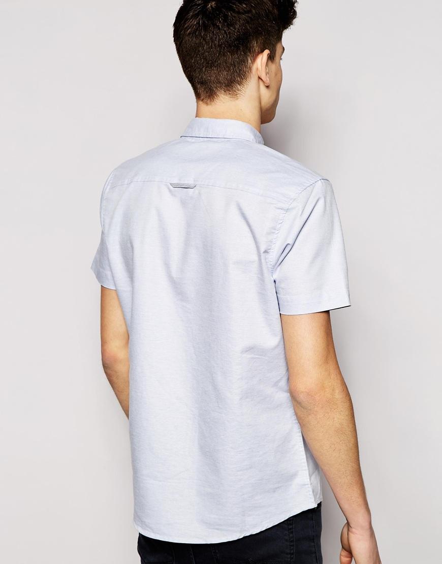 Lyst bellfield short sleeve shirt in slub fabric in blue for What is a slub shirt