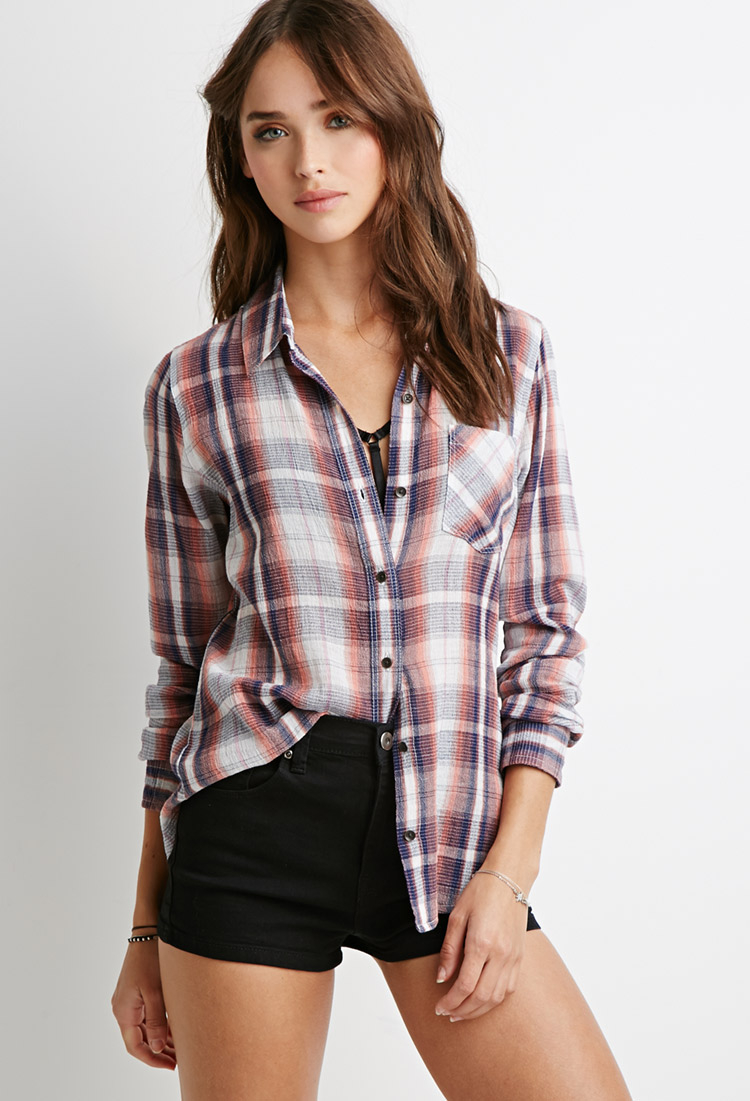 Forever 21 Classic Plaid Shirt In Orange Lyst