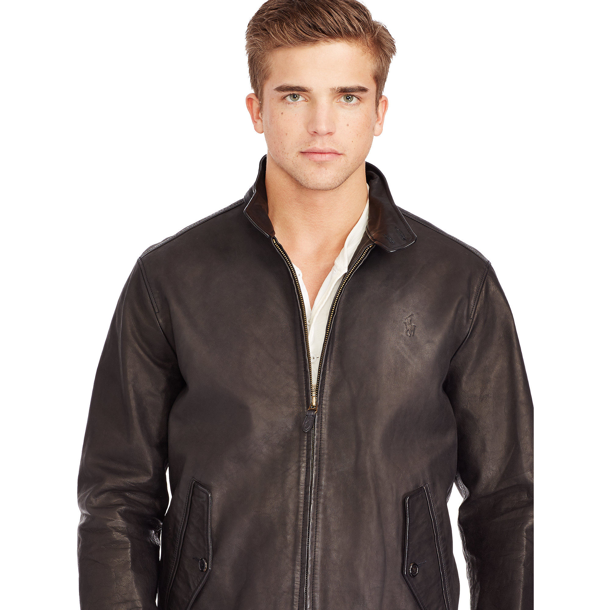 2f4a467c5 Polo Ralph Lauren Leather Full-zip Jacket in Black for Men - Lyst