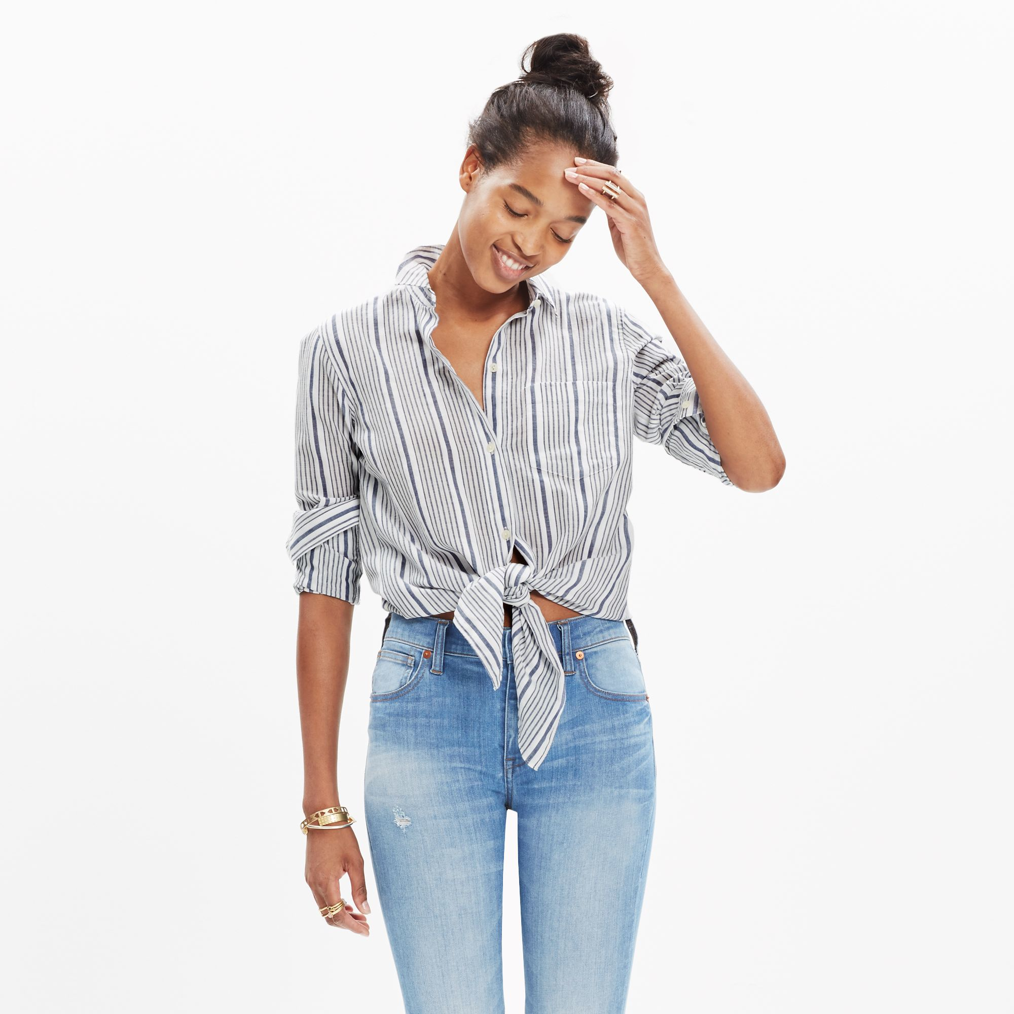 Lyst madewell striped tie front shirt in gray for Striped shirt with tie