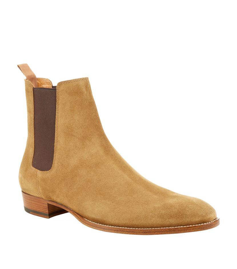 laurent eddie suede chelsea boot in brown for lyst