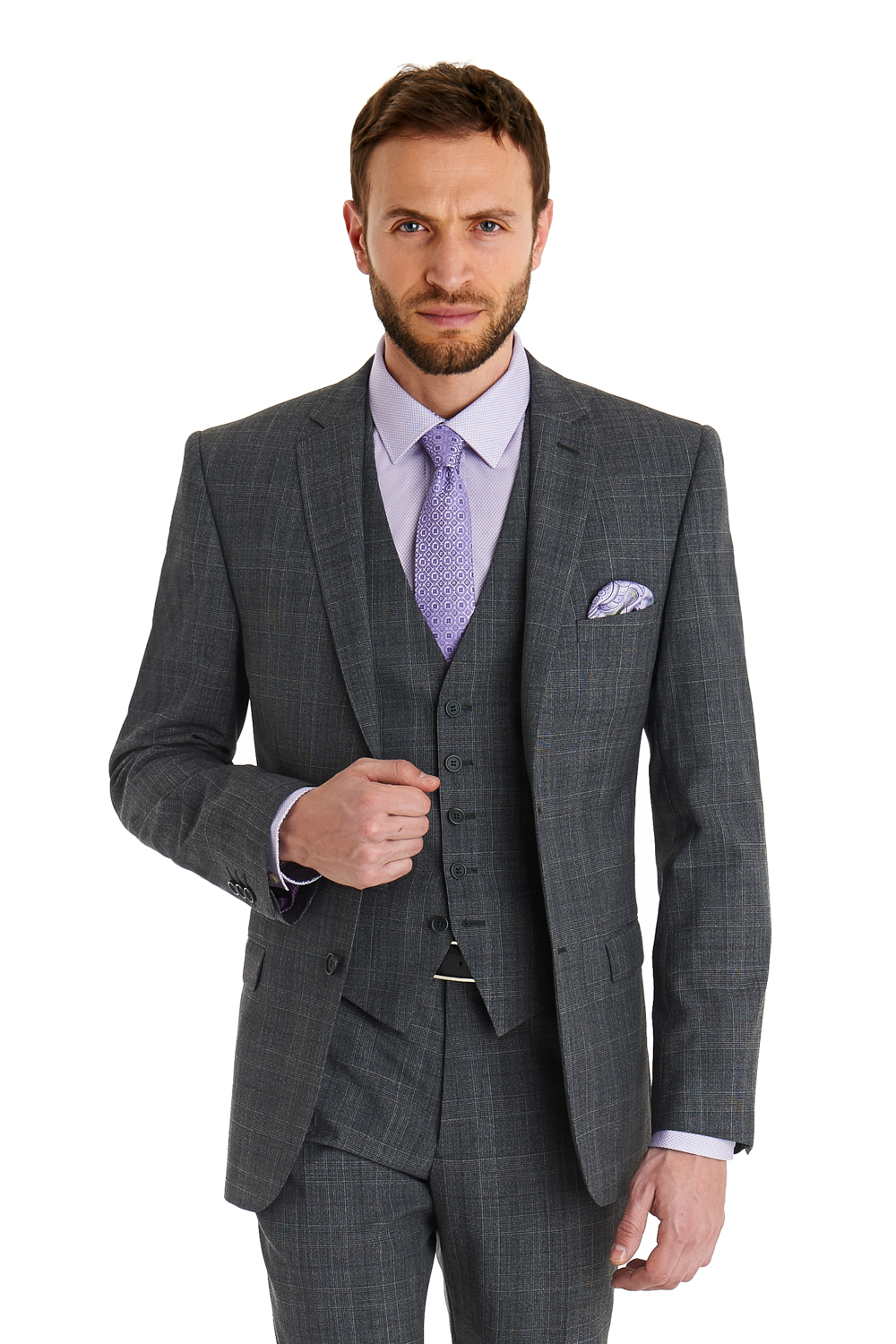 Ted baker Slim Fit Grey Check 3 Piece Suit in Gray for Men | Lyst