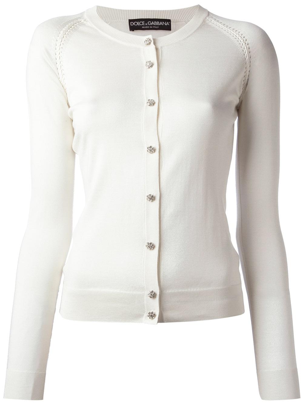 Dolce & gabbana Jewel Button Cardigan in White | Lyst