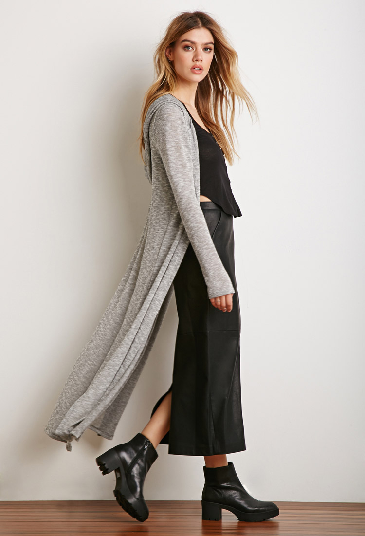Forever 21 Hooded Maxi Cardigan in Gray | Lyst