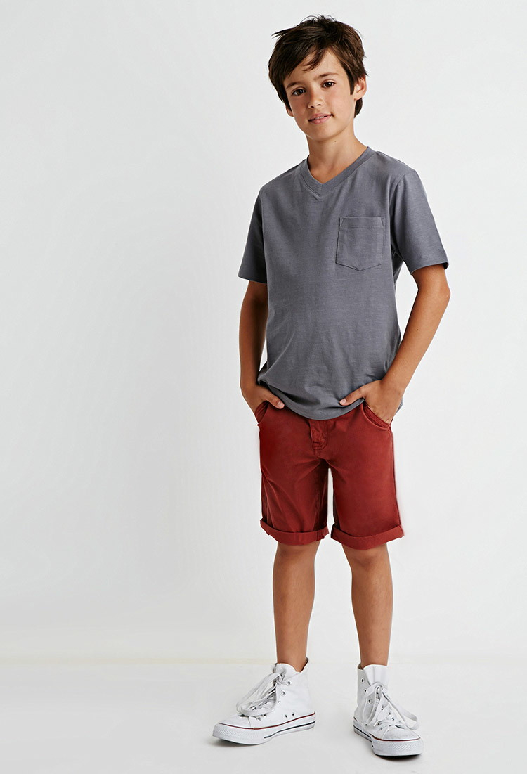 Lyst - Forever 21 Boys Cotton Shorts (boys) in Red for Men