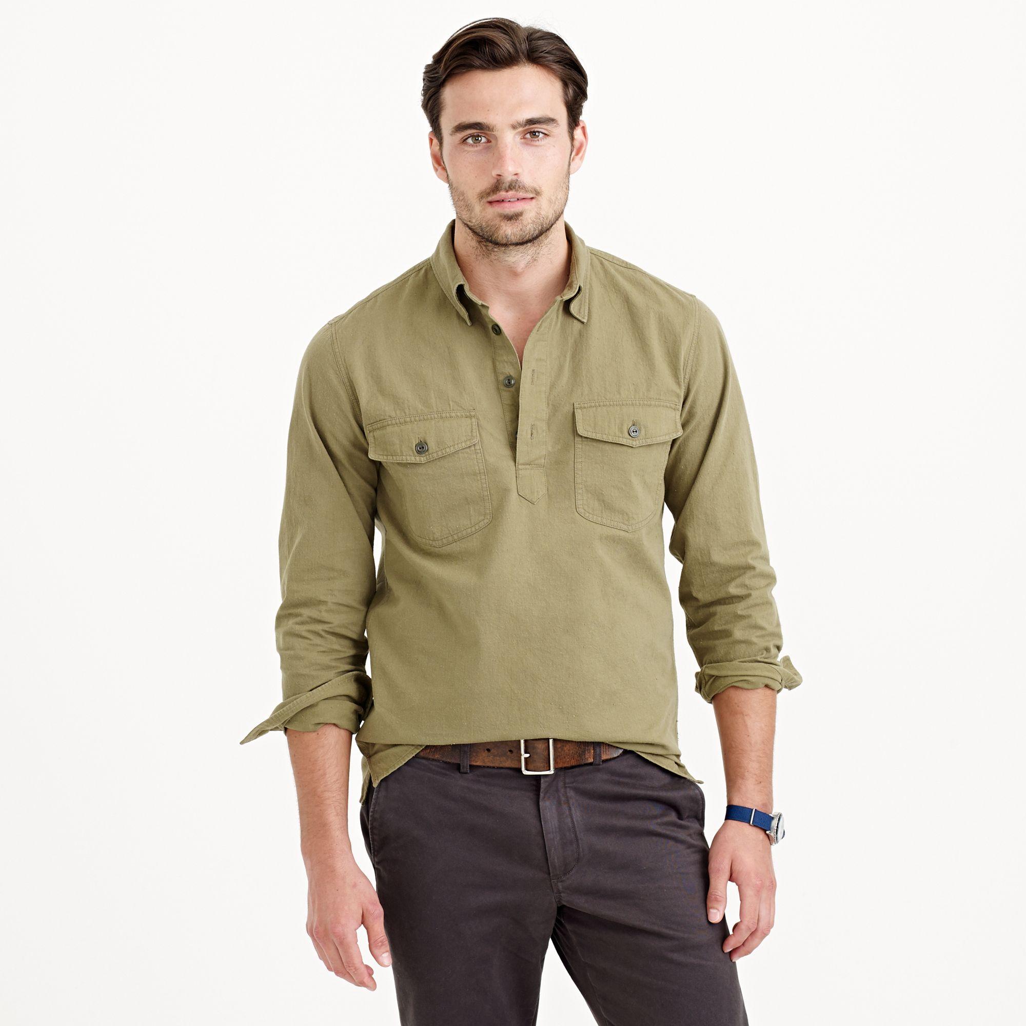 J.Crew | Khaki Wallace & Barnes Military Popover Shirt for ...