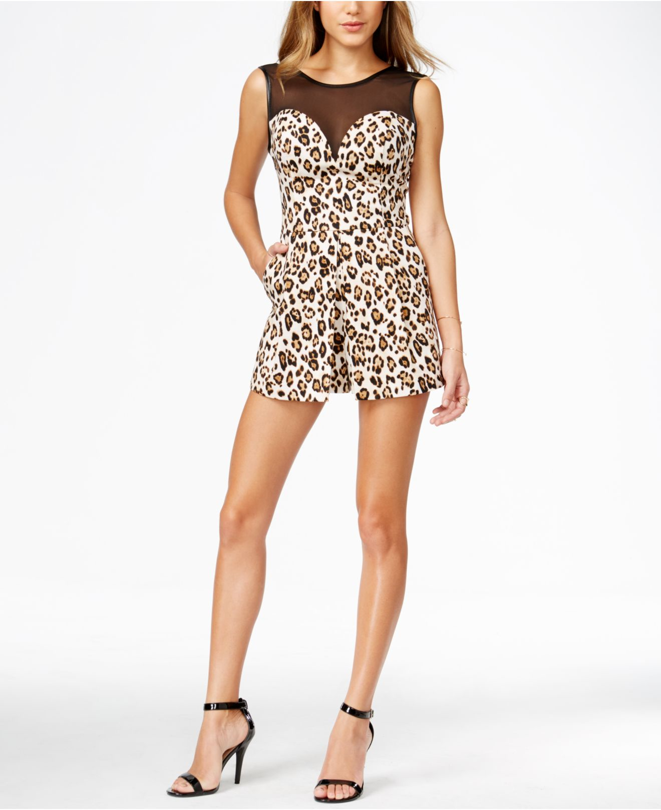 1dbcd96e8c5 Lyst - Guess Animal-print Illusion Romper in Natural