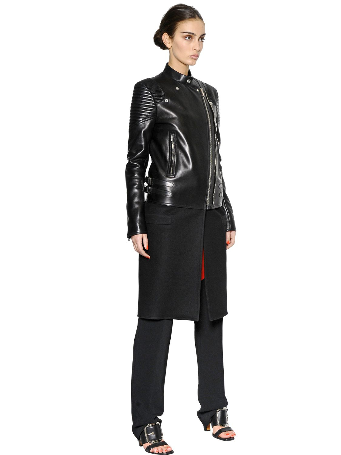 Givenchy Nappa Leather & Felted Wool Biker Coat in Black | Lyst