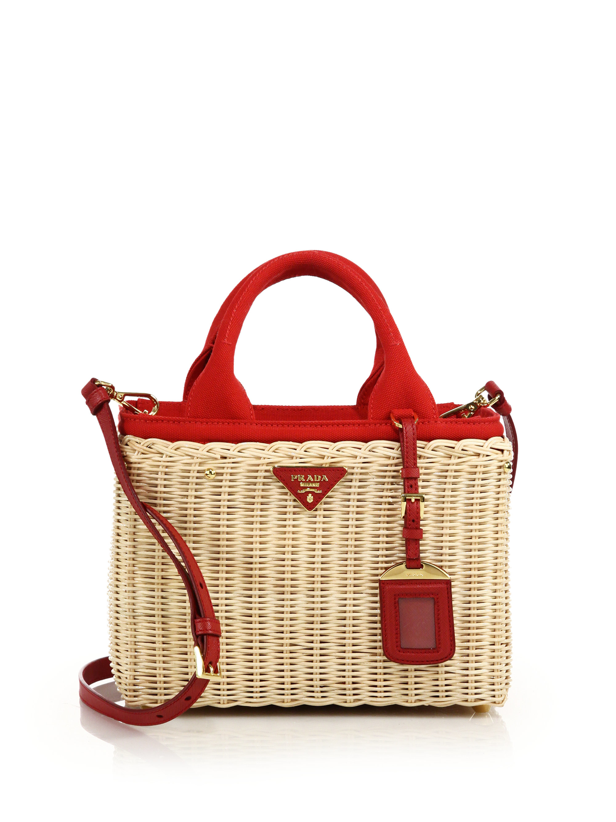 2aea728f4f18 ... free shipping lyst prada wicker canvas tote in natural aff8b edeaa