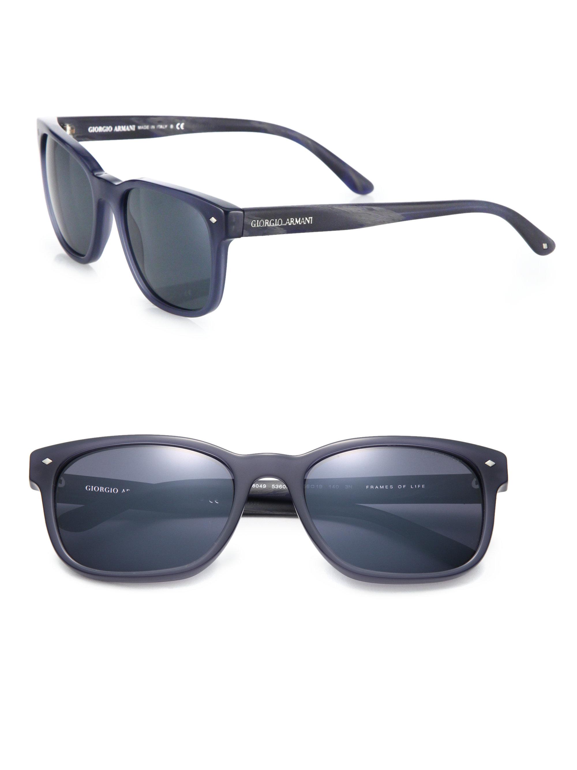 d7243fe66b74 Giorgio armani 56mm Acetate Square Sunglasses in Blue for Men