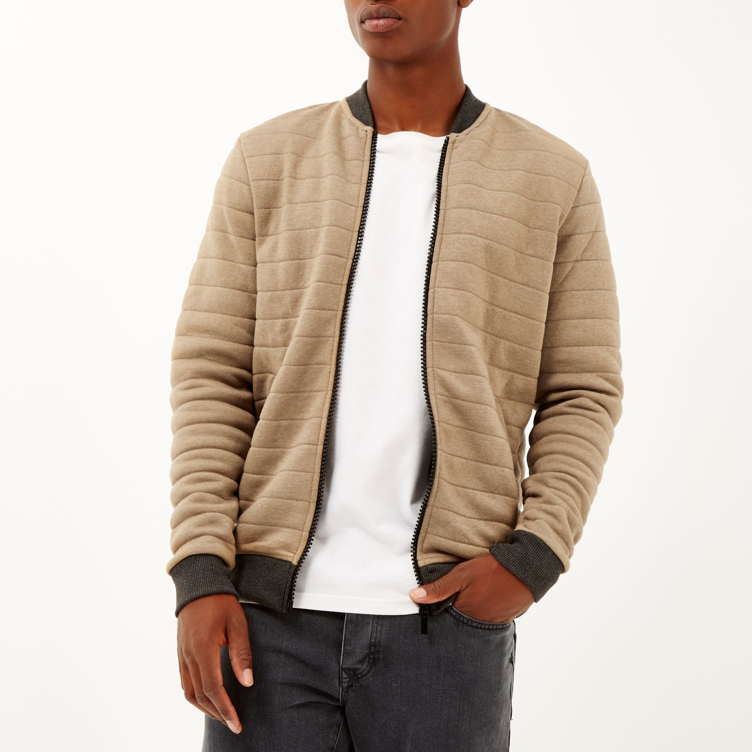 River island Light Brown Quilted Bomber Jacket in Brown for Men | Lyst