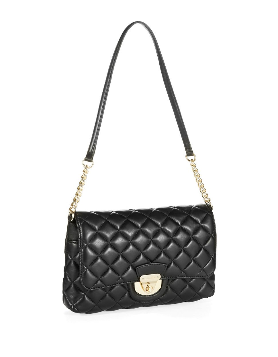 Calvin Klein Quilted Crossbody Bag In Black Black Gold