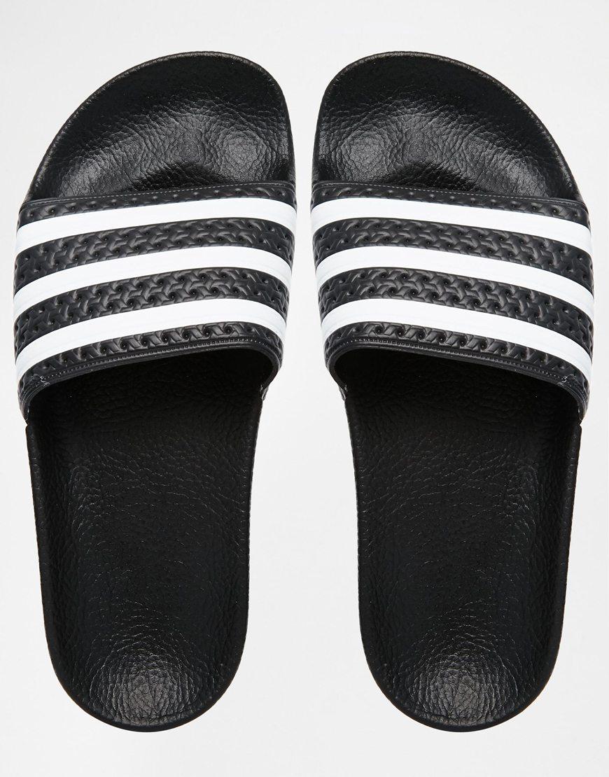best website 29582 f2b94 adidas Originals Originals Adilette Black   White Stripe Slider Sandals in  Black - Lyst