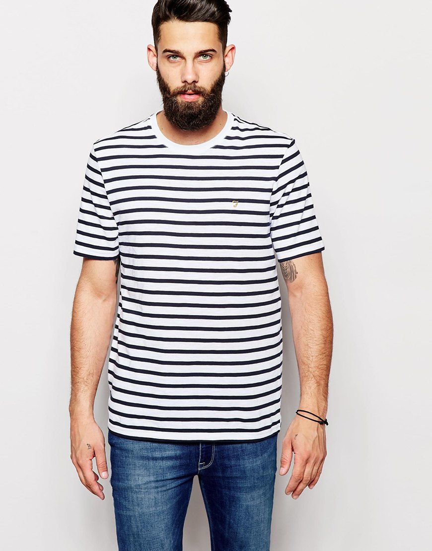 farah t shirt with breton stripe short sleeves in white. Black Bedroom Furniture Sets. Home Design Ideas