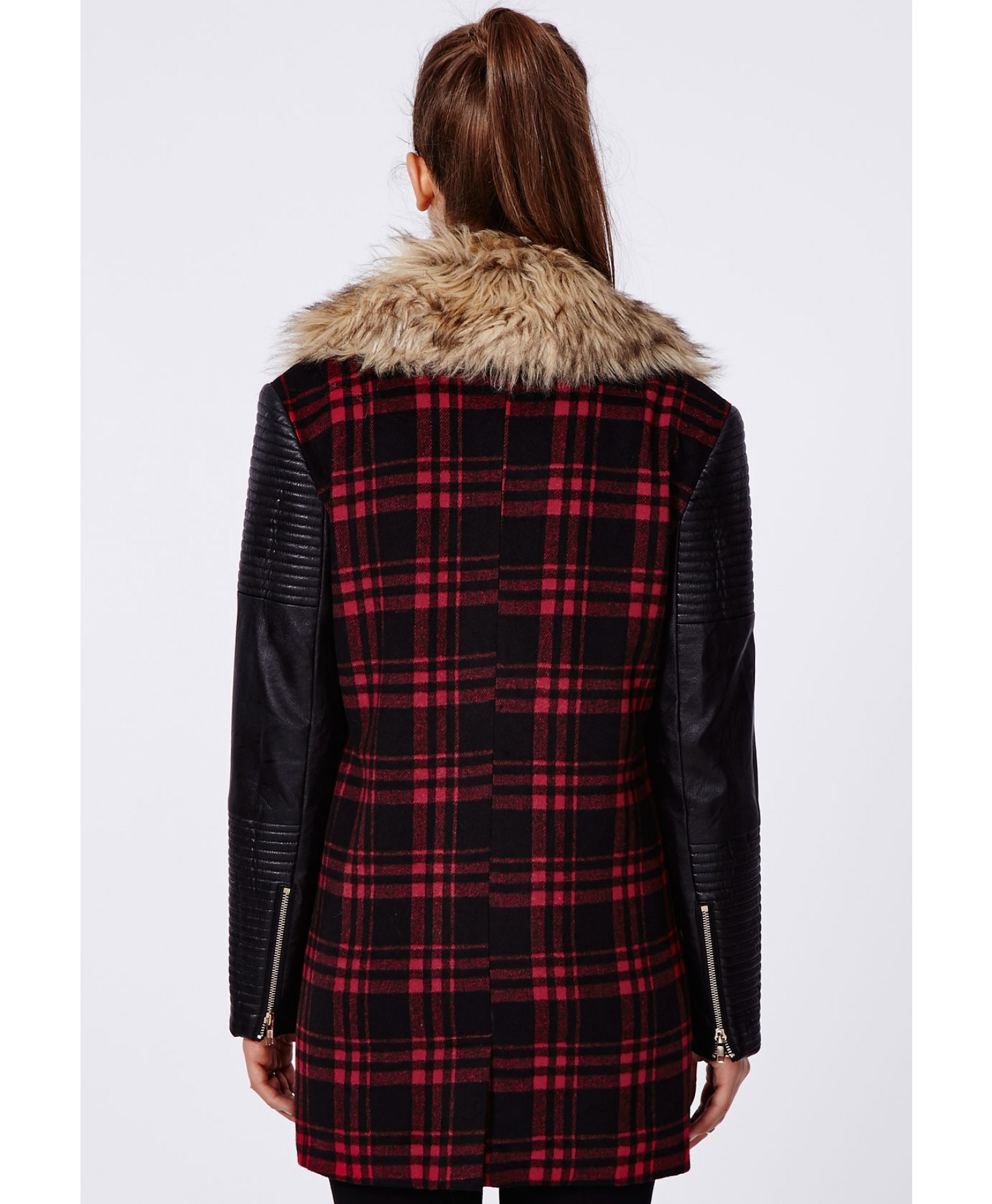 Missguided Orla Faux Fur Leather Biker Sleeve Coat Red Check in