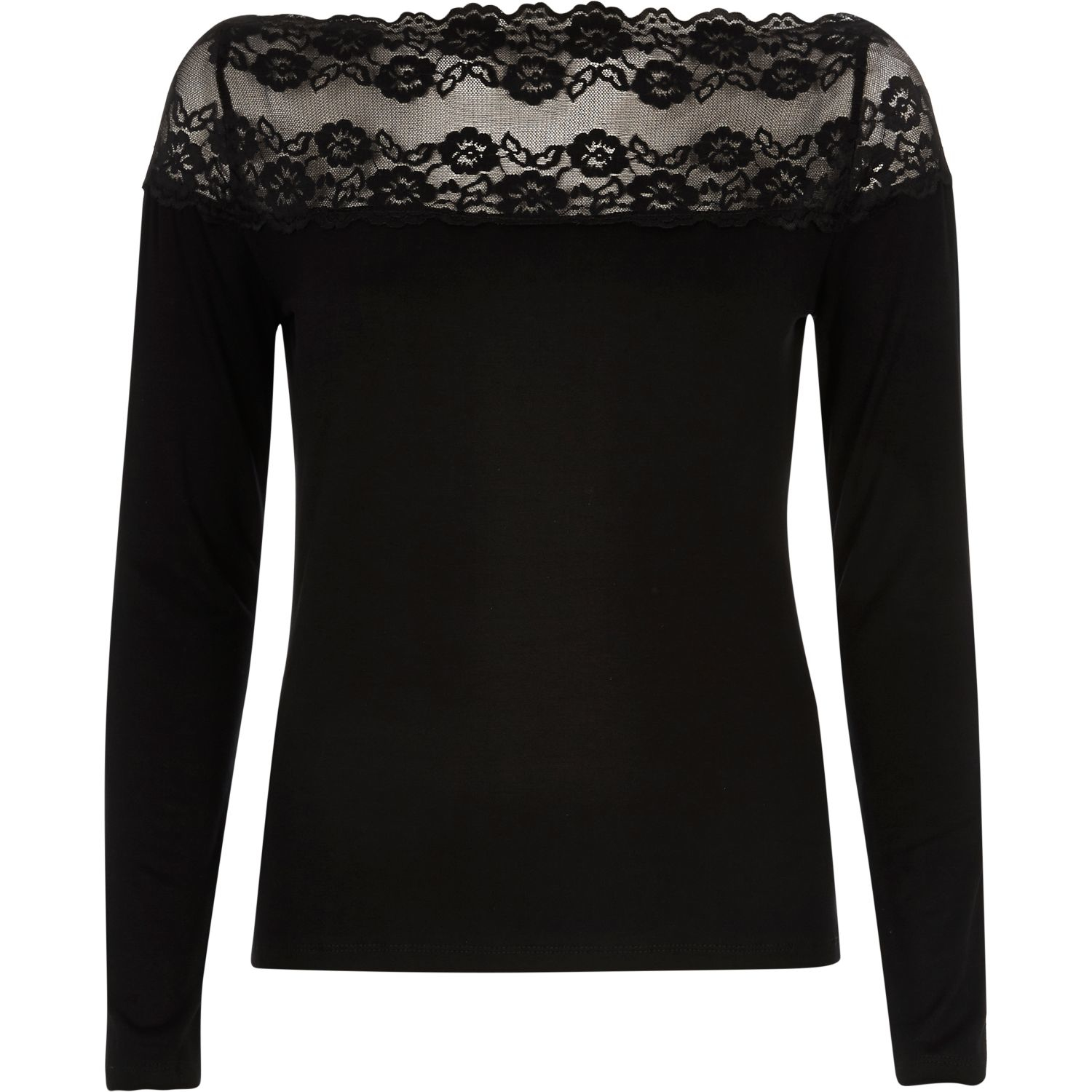 Lace In Lyst Neck Black River Top Island Bardot nEHAg8xB